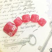 冬のフットネイル板橋◆赤のパウダースノーネイル/雪の結晶ネイル/赤ネイル