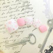 冬のフットネイル板橋◆ピンクのモコモコSnowネイル(雪の結晶ネイル)