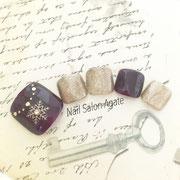 冬のフットネイル板橋◆結晶ネックレスネイル/大人ネイル/ボルドーネイル