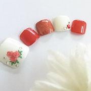 フットネイル板橋◆ローズネイル/赤ネイル/フラワーネイル/薔薇ネイル