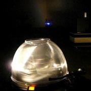 Lichtobjekt in Rauminstallation der raum zwischen den Ohren