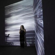 Maria Faust in video installation in the project - the space between the ears