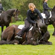 Gerade bei solchen großen Auftritten zeigt es sich, ob Pferd und Reiterin sich vertrauen, wie hier Solveig und ihr Omme.