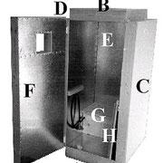 Der Akkumulator besteht aus :   A. Bodenelement B. Deckenelement C. Linkes Seitenelement D. rechtes Seitenelement E. Rückenelement F. Tür G. Shootersitz (oder Sitzbrett) H. Brust- und Beckenschild