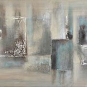 """""""Reflections"""" Acrylique & techniques mixtes sur toile 120x60."""