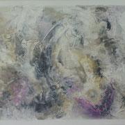 """""""Initiatory purple"""" (Violet initiatique). Acrylique sur toile 3D 200x50."""