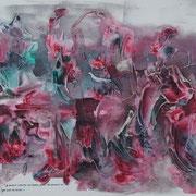 """""""Lotus"""" Acrylique sur toile panoramique 150x50."""