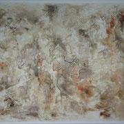 """""""Feminie spectrum"""" (Spectre féminin). Acrylique & pastel sur toile 3D 100x70."""