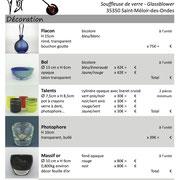 L'atelier du Verre à Soi - Saint Méloir des Ondes Catalogue produits