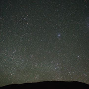 Sirius, Canopus and the Large Magellanic Cloud. Sony A7s camera, 28mm f2.8 lens. Single shot of 20 seconds.