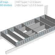 Aufgesetzte Lagerwannen mit Trennblech, 100 mm hoch