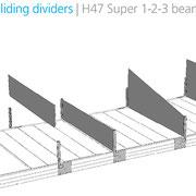 Trennwände, vertikal verschiebbar, 47 mm hoch