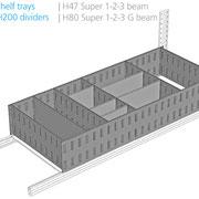 Aufgesetzte Lagerwannen mit Trennblech, 200 mm hoch