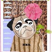 Hund mit Blume