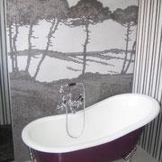 mosaïque en salle de bain, Bisazza 1x1, décor spécial