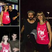 """Miryam con su camiseta """"Fan de Ti"""" junto con Sidecars 13 de Agosto de 2mil16"""