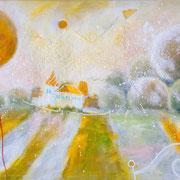 Goldgesandte Nachricht. Wachsende Goldkastanien im wachsenden Park des wachsenden Schlosses. Über allem es schneit.