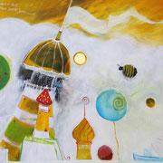 Die Ankunft der ersten Hummel. Leuchtturm hat sie zuerst gesehen und erglüht gelbschwarz. Dächer, Schirmchen und Kastanien neigen sich zu, damit Hummel auf dem Zuhause landen kann.