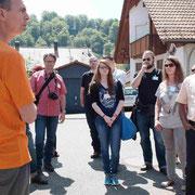 Vortrag im Bereich des früheren Handwerkerviertels des römischen Vicus Jagsthausen zum Thema römisches Geld zur mittleren Kaiserzeit anläßlich Event der Fa. BIT Ingenieure