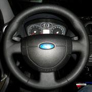 Форд фиеста: после перетяжки черная кожа, черная нить