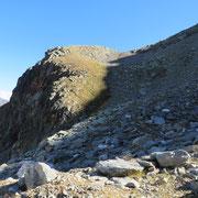 Valloncello da risalire prima della cresta finale