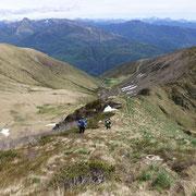 Discesa per affrontare la cresta che conduce alla Cima Torrione