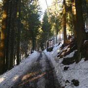Deviazione a 1200 m sulla strada che sale al Monte Bisbino