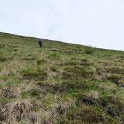.... abbandoniamo il sentiero per salire su ripidi pendii erbosi .....