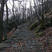 Pavimentazione con sassi irregolari, nel periodo invernale molto scivolosa