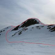Passaggio delicato, con neve gelata usare i ramponi