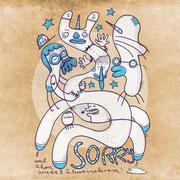 Illustration Kleines Einhorn betritt die Szene und ist verwirrt, Zeichnung auf Papier mit Tusche und digitaler Kolorierung, von Frank Schulz Art