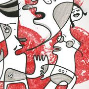 Sei doch keine trübe Tasse! Ein Selbstporträt mit Figuren auf Rot, Zeichnung auf Papier mit Tusche und digitaler Kolorierung, von Frank Schulz Art