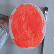 Zweite Farbschicht für den Bildhintergrund ist Neonorange.