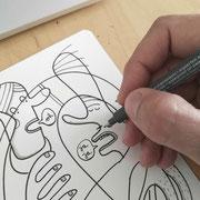 Illustration, Mann ohne Hose im Park wird beschimpft, Zeichnung auf Papier mit Tusche und Aquarell von Frank Schulz Art