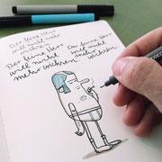 Illustration eines Herrn in Feinripp Unterhose mit Zigarette, Zeichnung auf Papier mit Tusche und digitaler Kolorierung, von Frank Schulz Art