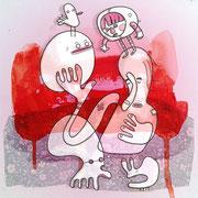 Wo sind wir eigentlich? - Sechs Freunde in Rot, Zeichnung auf Papier mit Tusche und digitaler Kolorierung, von Frank Schulz Art