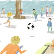 'Buitenspelen' herziene illustraie in opdracht gemaakt voor ThiemeMeulenhoff, taalmethode groep 5
