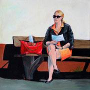 Waiting for the Bus (2014, Acryl/Leinwand, 30x30 cm)