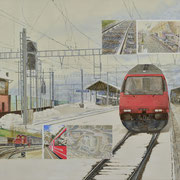 Bahnhof Brig mit verschiedenste Bilder 80x100 / 2017-2018 ---CHF 2'300---