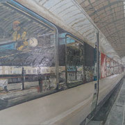 Bahnhofspiegelung Basel 60x80 / 2014 ---CHF 1'350---