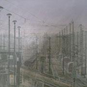 Rangierbahnhof bei Morgennebel 50x70 / 2012 ---CHF 1'150---