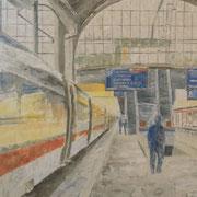 Stimmung in Bahnhof Basel 50x70 mit Palette ---CHF 1'350---