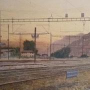 Sonnenuntergang Bhf Martigny 80 x 100 / 2018---CHF 2'000---