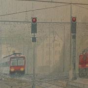 Zugeinfahrt bei Regen 80x100 / 2017 ---CHF 2'400---