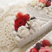 プリザのショートケーキ・レッド