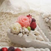 プリザのショートケーキ・ピンク