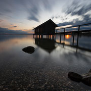 Bootshaus am Ammersee im Abendrot