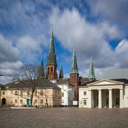 Oldenburg: Schlossplatz, Schlosswache und Lambertikirche