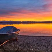 Traumhaftes Abendrot über dem Ammersee