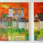 Doppelbild 60 x 80 cm und 20 x 80 cm Rapperswil